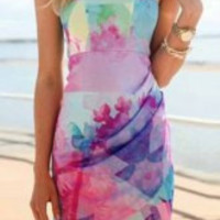Multi Color Printed Bodycon Mini Dress