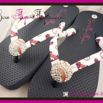 Phillies Ribbon Baseball Flip Flops with Bling Rhinestone Baseball