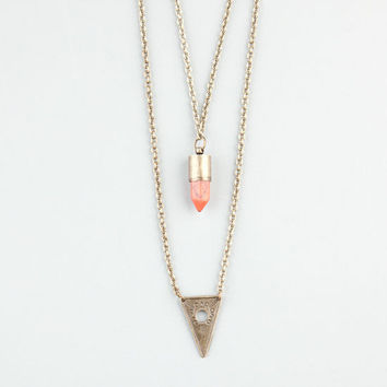 Full Tilt Hi Low Triangle/Stone Necklace Gold One Size For Women 24280662101