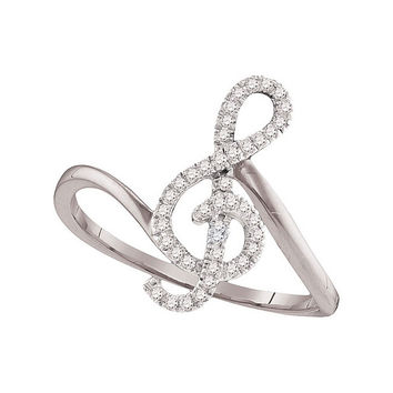 10k White Gold Round Diamond Treble Clef Music Note Womens Classic Ring 1/6 Cttw 98123