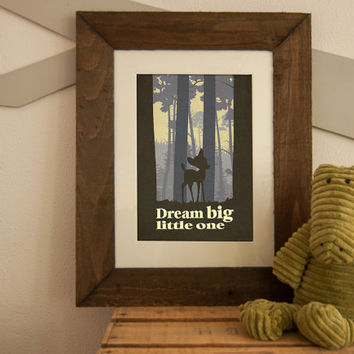 "Disney Bambi inspired Baby Children Boy or Girl Birth Gift idea Nursery room wall art ""Dream big little one"" Print 8x10 Letter / Tabloid"