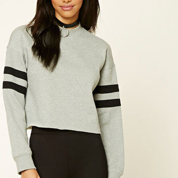 Raw-Cut Striped Sweatshirt