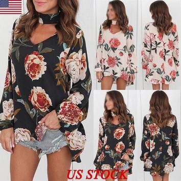 US Womens Choker V Neck Floral T-Shirt Ladies Loose Tops Blouse Shirts Plus Size