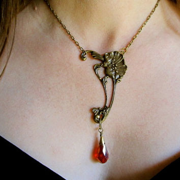Art Nouveau Necklace Set Red Crystal Necklace Set Antique Brass Necklace- Poppy