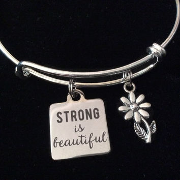 Strong is Beautiful Stainless Steel Charm on Silver Expandable Bracelet Adjustable Wire Bangle Handmade Stacking Gift Trendy