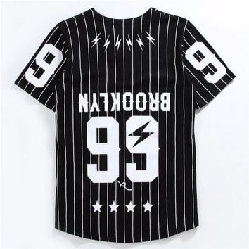 Men/Women Mesh V-Neck Jersey Hip Hop Street T-Shirts Tee New T-shirts Men Striped Baseball Jersey T Shirts hip hop t shirts