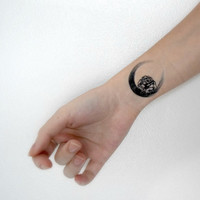 Temporary Tattoo - Floral, Black, Wrist,  Silhouette, Flower, Symbol