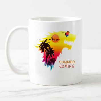 Drop shipping Game of thrones  House Stark mug summer is coming Ceramic white coffee mug Tea cup Mugs as gift