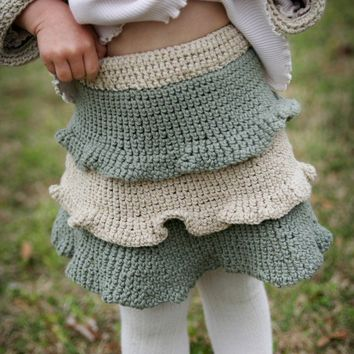 Hand Knit Ruffle Baby Skirt  Eco Friendly  Photo Prop  by joretta