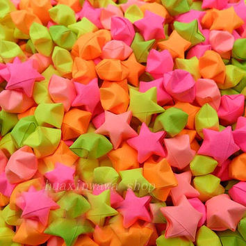 1000pcs-Fluorescence of stars,Wedding colorful Handmade Origami party birthdays Wishes Friend valentine's OR adorn colorful room