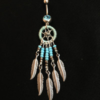 Handmade unique dreamcatcher belly button ring baby blue sparkly