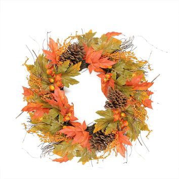 "24"" Autumn Harvest Decorative Artificial Berries Leaves Pine Cones and Twigs Wreath - Unlit"