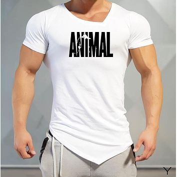 Men T-Shirts Golds Animal gyms Brand Fitness Bodybuilding Workout Clothes Man Cotton Sporting T Shirt