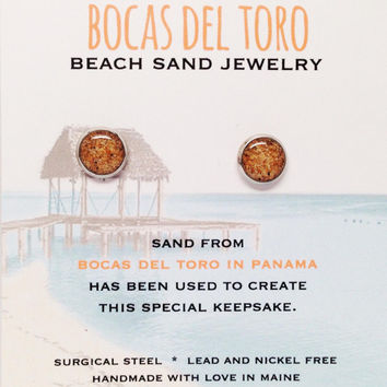 Panama Beach Sand Jewelry Bocas Del Toro Sand Jewelry Travel Souvenir Sand Earrings, Bohemian Style Accessories, Surf Inspired Beach Sand