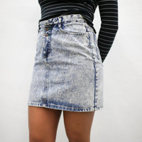 vtg 90's 80's retro acid wash denim mini skirt, 1990s 1980s  vintage urban outfitters american apparel tumblr fashion vaporwave aesthetic