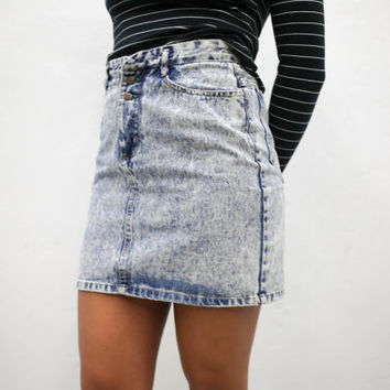 Vtg 90s 80s Retro Acid Wash Denim Mini Skirt 1990s 1980s Vintage Urban Outfitters American