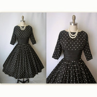 50's Taffeta Dress // Vintage 1950's Black by TheVintageStudio
