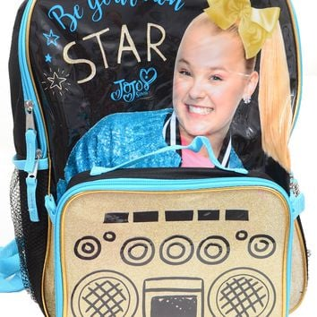 "JoJo Siwa 16"" Full-Size Backpack w/Detachable Insulated Lunch Box Gold Black"