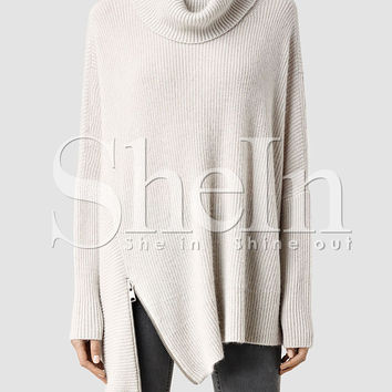 Beige Turtleneck Asymmetric Side Zip Slouchy Sweater
