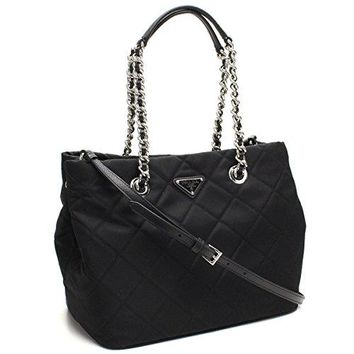 Prada Women's Black Quilted Tessuto Chain Shoulder Tote Bag 1BG740