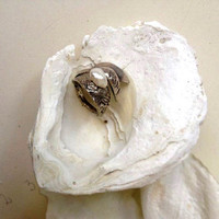 Sterling silver leaves ring with pearl, pearl sterling silver ring