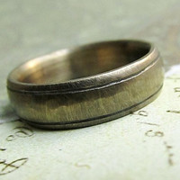 Rustic Gold Band , 14k Gold Men's Wedding Ring, Comfort Fit, Engraved, Oxidized Antique Patina... 6 x 2mm