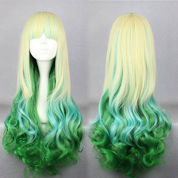Beautiful Fashion Style 75cm mutli color Long synthetic long curly wigs LOLITA WIG,Colorful Candy Colored synthetic Hair Extension Hair piece 1pcs WIG-335A