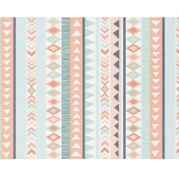 Mint and Coral Tribal Blanket, Tribal Baby Blanket, Toddler Blanket