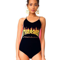 "Hot ""Thrasher"" Fashion Women Black Bikini Flame Letters Print One Piece Bikini Swimsuit Bathing Show Thin"