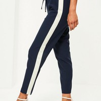 Missguided - Navy Contrast Side Joggers