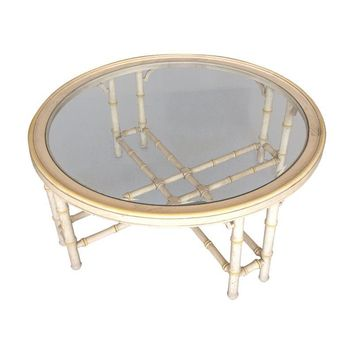 Pre-owned Faux Bamboo Glass Top Coffee Table