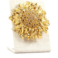 80's__Monet__Rhinestone Sunflower Brooch