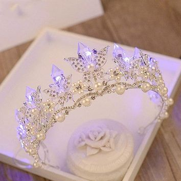 Butterfly Bridal Crystal Pearl Crowns LED Light Wedding Tiara Cosplay Costume