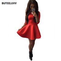 Pleated Casual  4/3 Sleeve Slim Short Mini Red Black Sexy Party Club Women Dress Vestido Robes Femmes
