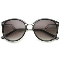 Women's Round Lightning Stepped Temple Round Sunglasses A057