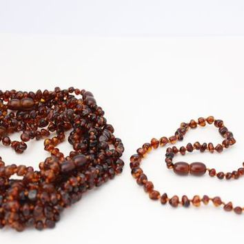 10 pieces of baby necklaces made of Natural Baltic Amber beads Cognac colour. Baby Teething necklaces.