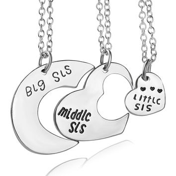 Best Friends necklace for 3 Big Sister Sis Middle Sister Sis Little Sister Sis Heart Charm Pendant Necklace Friendship Jewelry-Christmas gifts
