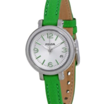 FOSSIL Green Leather Strap Ladies Watch