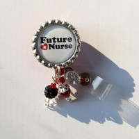 Future Nurse Retractable Badge Reel - Designer Badge Reels - Beaded ID Holders - Badge Reel Gifts - Fun Badge Clips - Cute ID Reels
