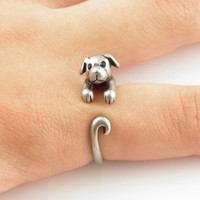 Silver Puppy Wrap Ring | KejaJewelry - Jewelry on ArtFire
