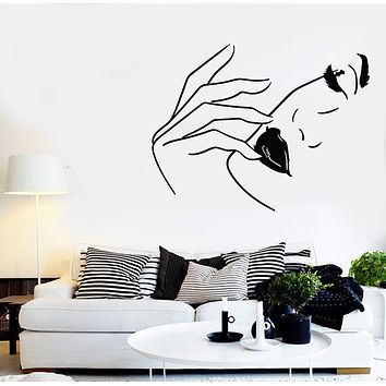 Vinyl Wall Decal Sexy Woman Face Lips Fashion Model Beauty Salon Stickers Mural (g2678)