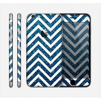 The White & Blue Glitter Print Sharp Chevron Skin for the Apple iPhone 6