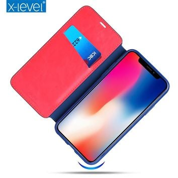 X-Level PU Leather Card Case For iPhone X Business Style Flip Phone Case for iPhone X Luxury Stand Case Cover