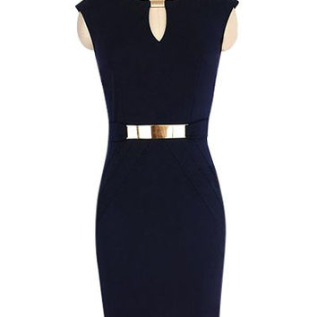 Blue Cut-Out Metal Embellished Waist Sheath Dress