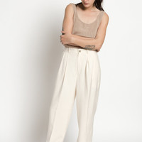 Vintage 90s Ivory White Silk Pleated Straight Leg Trousers | 4