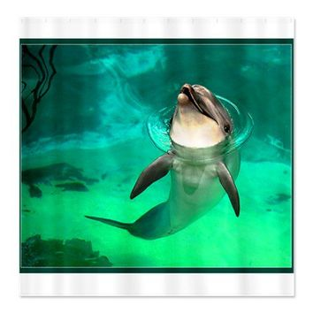 Cute Dolphin Pictures Shower Curtain on CafePress.com