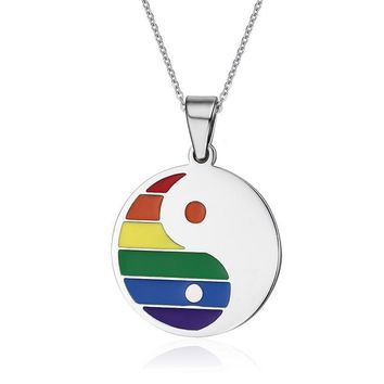Tai Chi Chain Necklace For Women Men Semi Rainbow Round Dog Tag Necklaces Pendents Titanium Steel LGBT Jewelry