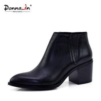 Donna-in calf leather women boots pointed toe thick heel ankle boots classic chelsea boots genuine leather ladies boots