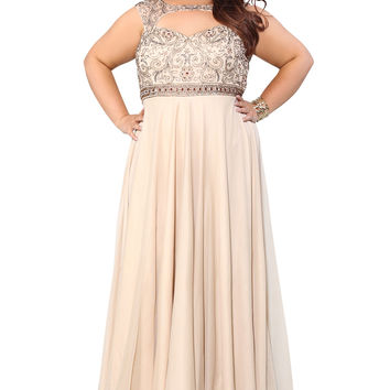 Embellished Fit To Flare A-Line Nude Prom Dress 71163