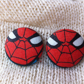 Spider Man Fabric Button Earrings, Covered Button Earrings, Superhero Earrings, Cosplay, Comic Con Earrings